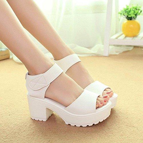 Transer Women Open Toe Platform High Heel Gladiator Sandals Chunky Shoes White S6UXz9