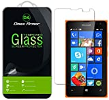 Lumia 435 Glass Screen Protector, Dmax Armor® Microsoft Lumia 435 Screen protector [Tempered Glass] Ballistics Glass, 99% Touch-screen Accurate, Anti-Scratch, Anti-Fingerprint, Round Edge [0.3mm] Ultra-clear [1 Pack]- Retail Packaging