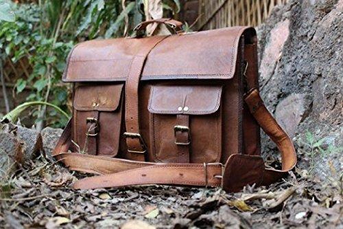 18'' Inches Classic Adult Unisex Cross Shoulder Leather Messenger Laptop Briefcase Bag Satchel Brown