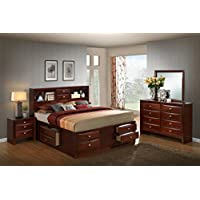 Roundhill Furniture Emily 111 Wood Storage Bed Group with Queen Bed, Dresser, Mirror and Night Stand, Merlot