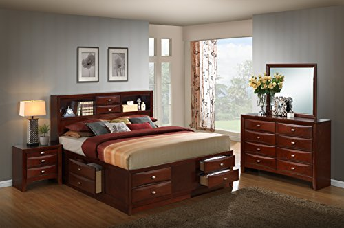Merlot Mirror Dresser Finish (Roundhill Furniture Emily 111 Wood Storage Bed Group with King Bed, Dresser, Mirror and Night Stand, Merlot)