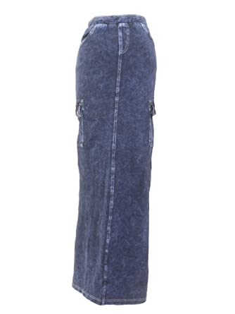 058f732551 Hard Tail Long Cargo Jean Skirt Dark Denim XS at Amazon Women's Clothing  store: