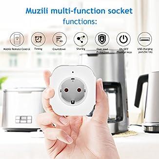 Enchufe inteligente wifi Muzili, enchufe inteligente con control por voz, compatible con Amazon Alexa y Google home. App móvil para controlar el enchufe desde cualquier lugar y momento