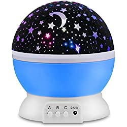 Star Night Light Lamp, Peyou Baby Nursery Lights, Romantic 360 Degree Rotating Cosmos Star Sky Moon Projector, 3 Models, 9 Light Color Changing with 4.9 FT(1.5M) USB Cable for Children Kids Bedroom