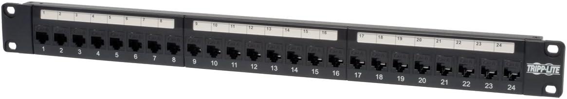 Tripp Lite 24-Port Cat6a Patch Panel STP Shielded RJ45 Ethernet 1U Rackmount TAA N254-024-SH-6A