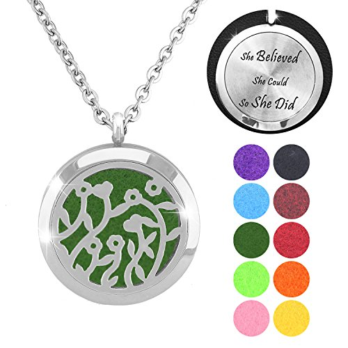 [FANSING Costume Halloween Gift Aromatherapy Essential Oil Diffuser Necklace Stainless Steel Locket Pendant with Chain and Refill Pads Engraved inspirational massege