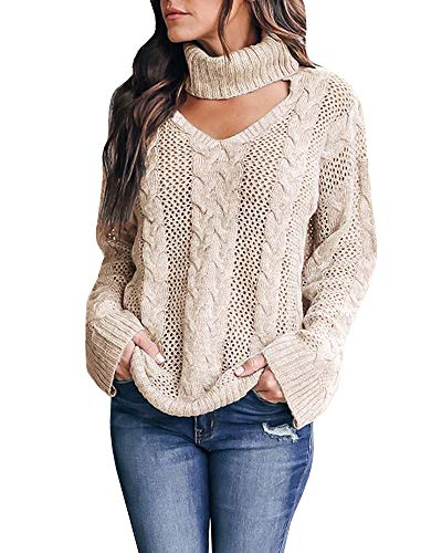 Crop Cable - Womens Plus Size Sexy V Neck Sweaters Turtleneck Choker Tops Oversized Cable Knit Chunky Pullover Khaki
