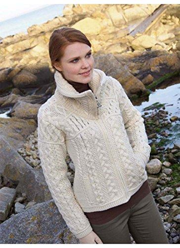 Aran 100% laine mérinos Crafts Double Col Fermeture Éclair pour Femme Naturel
