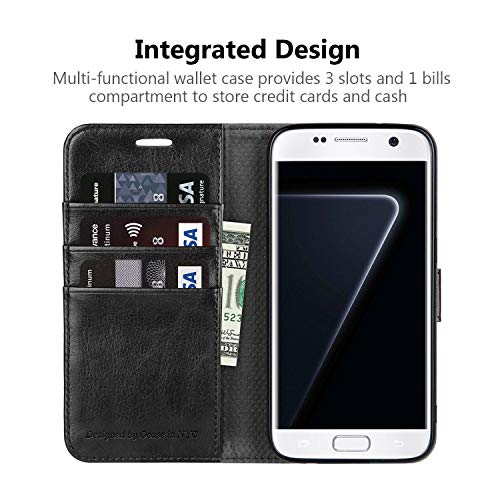 OCASE Samsung Galaxy S7 Case [ Card Slot ] [ Kickstand ] Leather Flip Wallet Case for Samsung Galaxy S7 - Black by OCASE (Image #3)