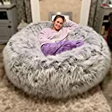 Small World Baby Shop ULTIMATE XXL FAUX FUR CHILDRENS ADULTS GAMING PRE FILLED BEAN BAG BEANBAG (GREY)