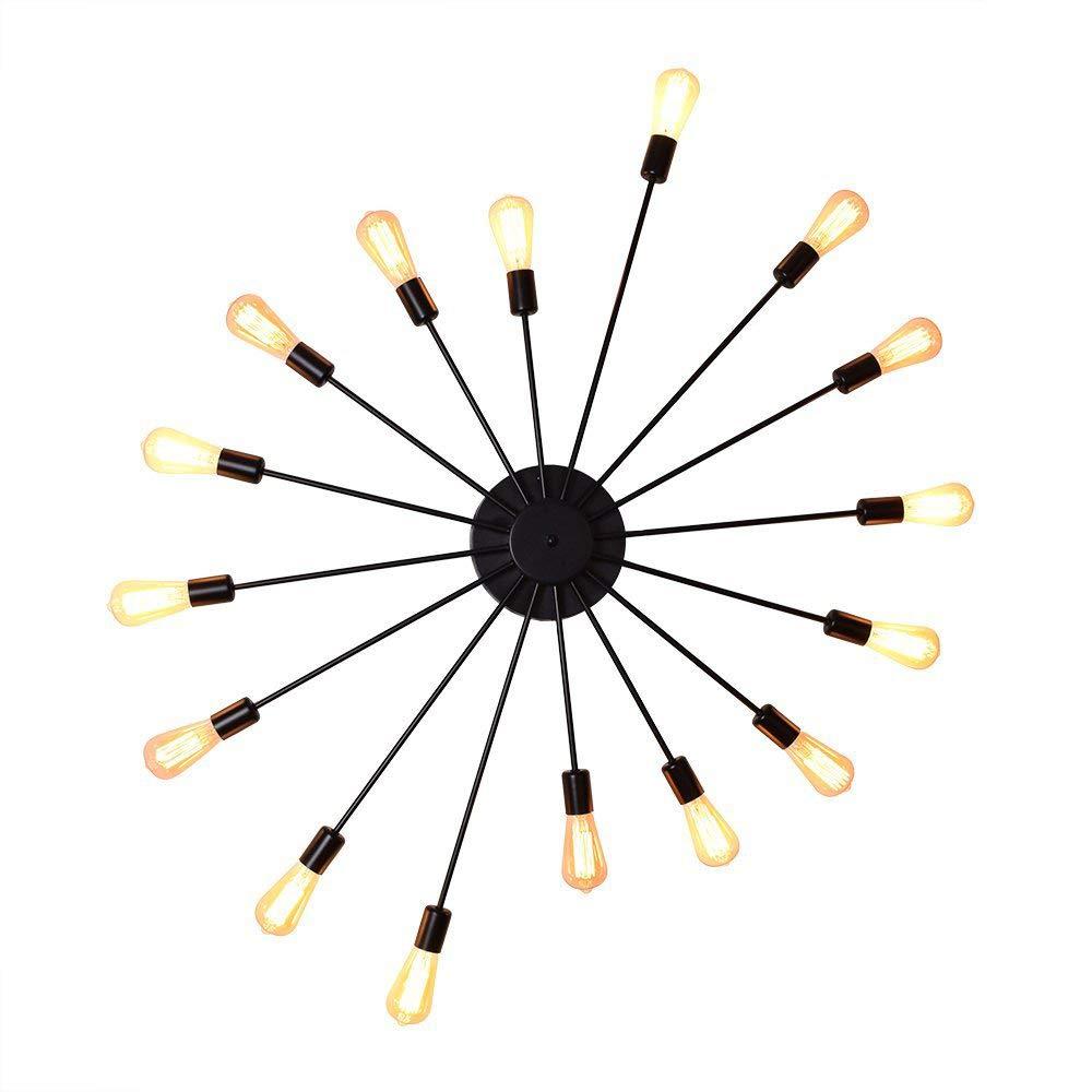 Deckenleuchte Wandleuchte OYI Vintage Wandlampe Industrie Lampe Innenbeleuchtung mit 16 E27 Lampenfassung Metall für Wohnung Bar Arbeitzimmer Schlafzimmer Schwarz