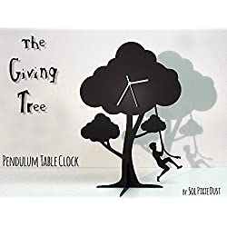 The Giving Tree - Boy Jumping - Silhouette Pendulum Table Clock No.2