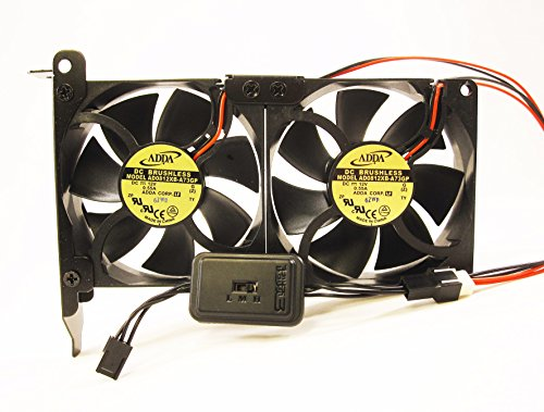 PCI Fan Tray Two 80mm 25mm 134CFM 12V VGA Variable Adjustable Speed (80x80x25mm Low Noise Ball Bearing)