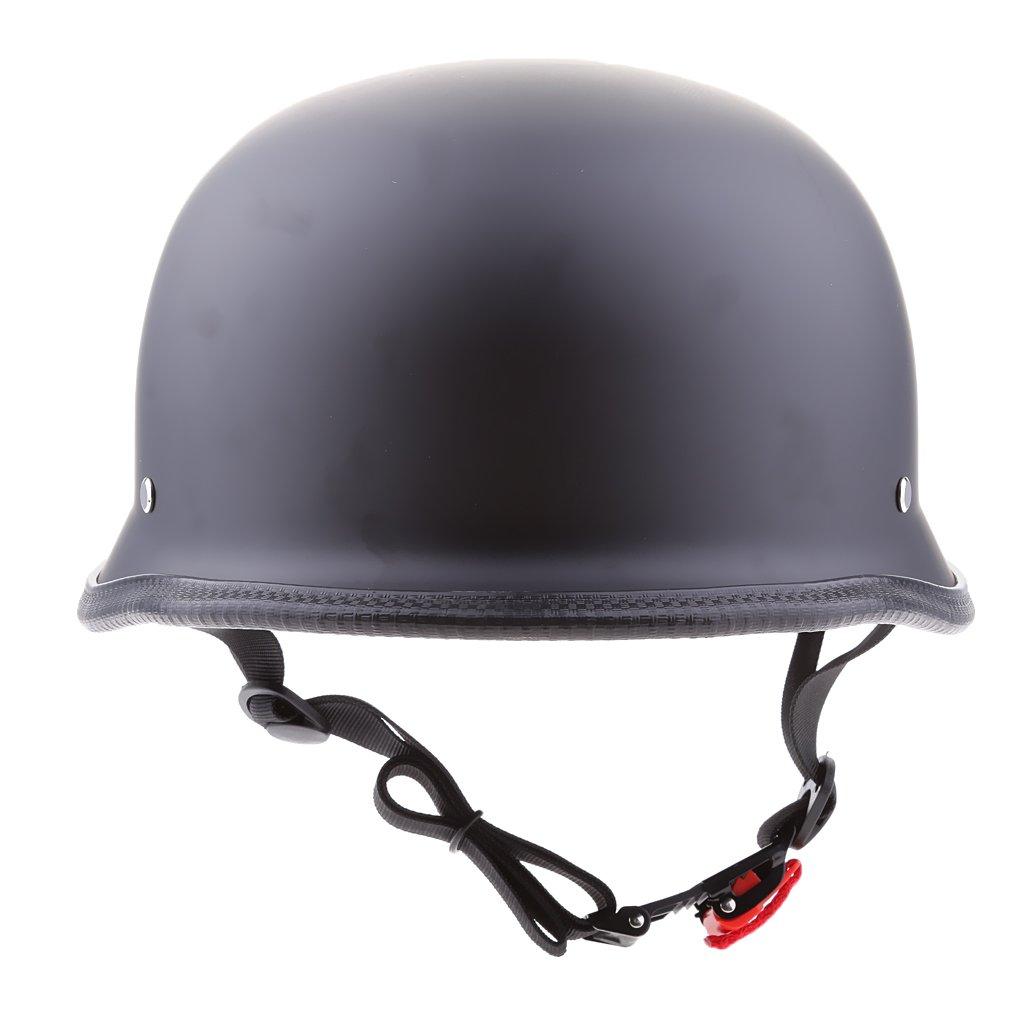 MonkeyJack Motorcycle Half Helmet LOW PROFILE Skull Cap Matte Black Chopper XL