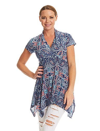 Made By Johnny MBJ Womens Print Short Sleeve Empire Line Side Panel Tunic XXXL Coral_Navy - Made Coral