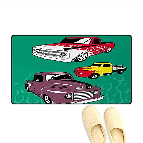 Door Mats,Colorful Vintage Pickups and Flatbed Flame Motif in The Hood Retro Vehicle Design,Customize Bath Mat with Non Slip Backing,Multicolor,Size:16