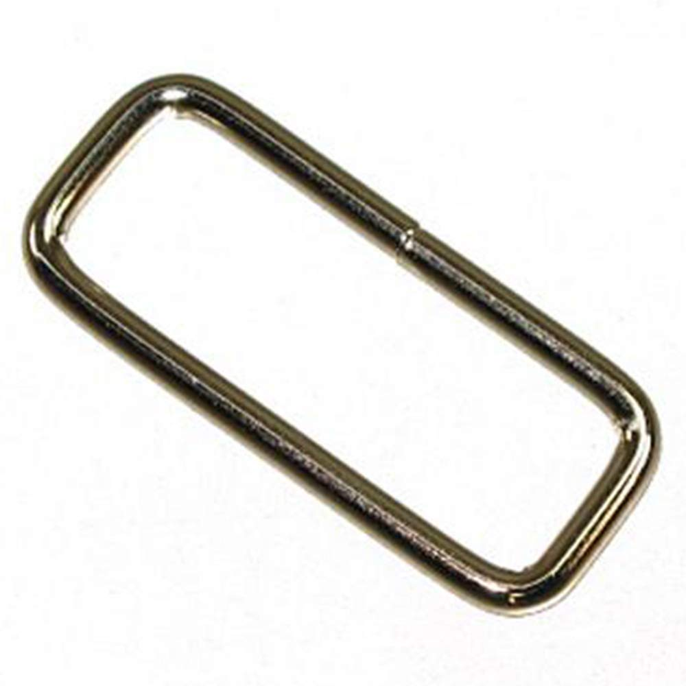 HILASON 3/8'' X 1/2 Inch Nickle Plated Wire Rectangle Strap Loop 100 Pcs