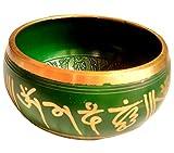 Tibetan Meditation Buddhist Bell Brass Green Singing Bowl With Mallet RS-bowl003