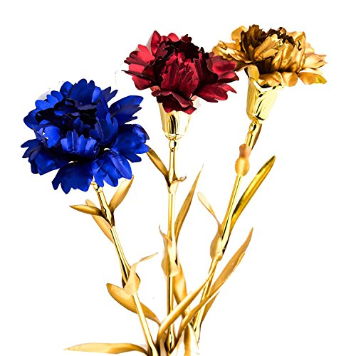 UniteStone Gifts For Mom in Artificial Flowers 24K Gold Foil 3 Pack & 3 Colors Carnation Flowers for Mothers' Day Anniversary and Birthday Gifts