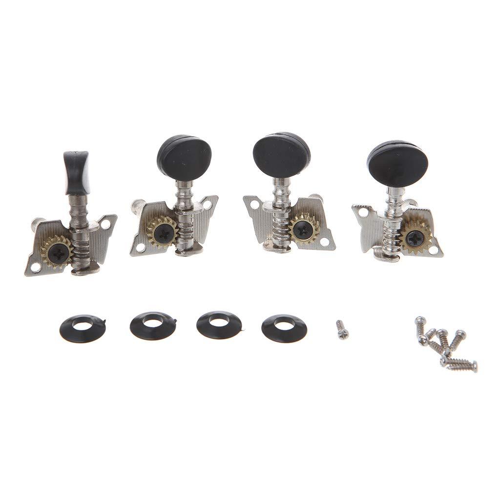 JOYKK 2R 2L Tuning Cheville Mécaniques Tuners pour 4 Cordes Accessoires Guitare Ukulélé - Argent + Noir
