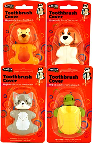 Dentek Animal Toothbrush Cover | Pack of 4 | Animals May Vary ()