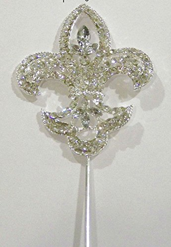 Fleur Lis De Crystal Small (Small Rhinestone Silver Crystal Fleur De Lis Mardi Gras Pick Cupcake Topper)