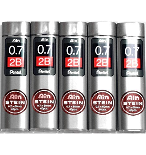 Pentel Ain Pencil Leads 0.7mm 2B, 40 Leads X 5 Pack/total 200 Leads (Japan Import) [Komainu-Dou Original Package]
