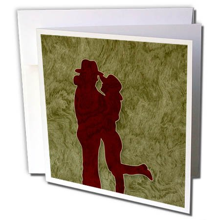 3dRose Doreen Erhardt Western - Western Themed Cowgirl and Cowboy Embraced in Love - 1 Greeting Card with Envelope (gc_264269_5)