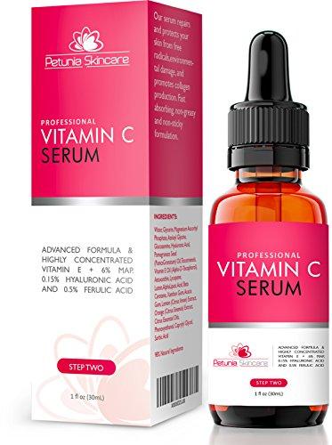 Meilleur taux sérique de vitamine C pour le visage Avec Vit E + Acide Hyaluronique + acide férulique - aide à réparer la peau endommagée Sun - E-book gratuit avec l'achat - Puissant sérum anti-âge de réduction des rides, Fade et Brun Spots