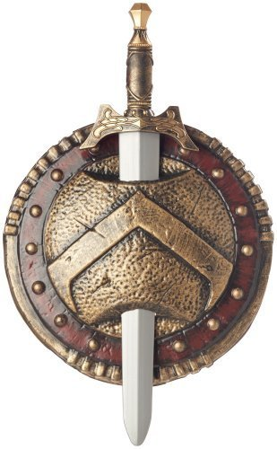 California Costumes Spartan Combat Shield And Sword, Red/Gold, One Size Costume Accessory by California Costumes