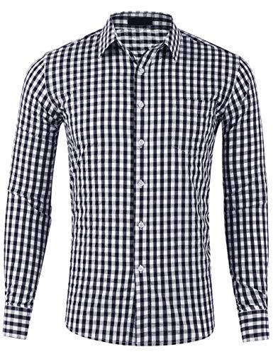 DOKKIA Men's Cotton Sleeved Buffalo Plaid Checked Business Dress Shirt (Long Sleeve Black White, X-Large) ()