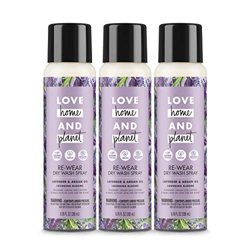 Love Home and Planet Dry Wash Spray Lavender & Argan Oil 6.7 oz, 3 Pack