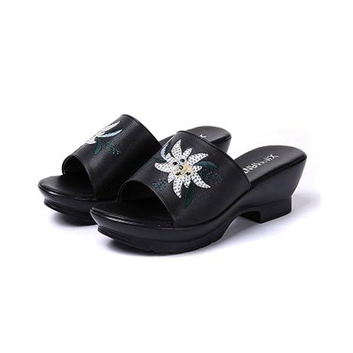 Mujeres Bordado Flor Plataforma Diapositiva Sandalias Dedo del pie Confort Retro Vestido Cuñas Sandalias Zapatillas: Amazon.es: Zapatos y complementos