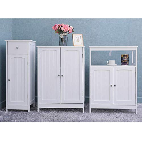 Iwell Bathroom Floor Storage Cabinet with 2 Adjustable Shelf, 6 Heights Available, Free Standing Kitchen Cupboard, Wooden Storage Cabinet with 2 Doors, Office Furniture, White YSG003B