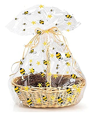 CakeSupplyShop Exclusive Item#20576 -5pack BumbleBee Large (25inchx 30inch) Bee Cello / cellophane Gift Basket Wrapping / Packaging Bags