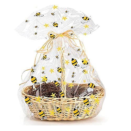 Gift basket items amazon cakesupplyshop exclusive item20576 5pack bumblebee large 25inchx 30inch bee cello cellophane gift basket wrapping packaging bags negle Choice Image