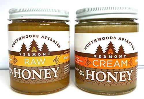 Vermont Raw and Cream Honey 8 oz Jars...2 Count (Champlain Honey Valley)