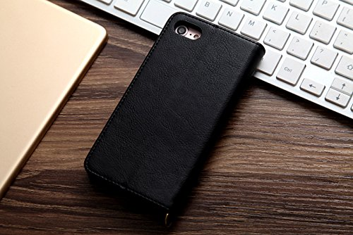 FuriGer iPhone 8 Case, iPhone 7 wallet case Premium PU Leather Dual Layer Design Wallet Case Card Slot Function Support Kickstand Feature iPhone 7/8-4.7 inch-Black