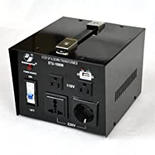 Goldsource® STU-N Series 1000 W Heavy-duty AC 110/220V Step Up / Down Voltage Transformer / Converter with US Standard, Universal, German/French Schuko AC Outlets & DC 5V USB Port - 1,000 Watt