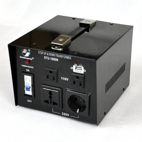 Goldsource STU-N Series 1000 W Heavy-duty AC 110/220V Step Up / Down Voltage Transformer / Converter with US Standard, Universal, German/French Schuko AC Outlets & DC 5V USB Port - 1,000 Watt