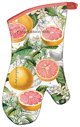 Michel Design Works Padded Cotton Oven Mitt, Pink Grapefruit Vintage Oven