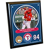 "Steiner Sports MLB Texas Rangers Prince Fielder Plaque with Game Used Dirt from Globe Life Park in Arlington, 8"" x 10"", Navy"