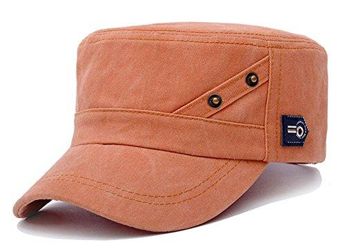 ChezAbbey Men's Cotton Flat Top Peaked Baseball Twill Cap Solid Brim Cadet Military Hat Visor
