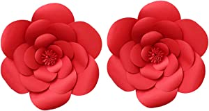 2pcs 16inch Paper Flower Backdrop Decoration Giant Party Paper Flower Wedding Rose Flower Wall Backdrop DIY Paper Handmade Craft for Nursey,Baby Shower,Birthday,Home Decor (16inch, Ruby Red)