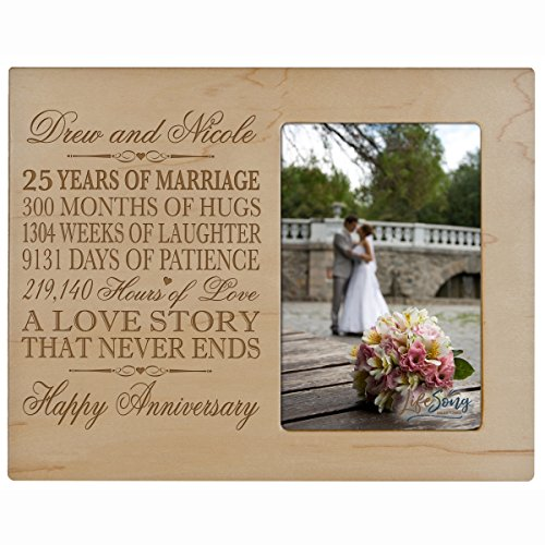 - Personalized twenty five year anniversary gift for him her couple Custom Engraved 25th year wedding celebration for husband wife girlfriend boyfriend Photo Frame Holds 1 4x6 Photo 8