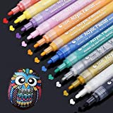Acrylic Paint Marker Pens, Vakki 12 Colors Permanent Medium Point Tip Markers for Rock Painting, Mug Design, Glass, Ceramic, Wood, Garden, Canvas, Paper, Metal, Photo Album, DIY Crafts