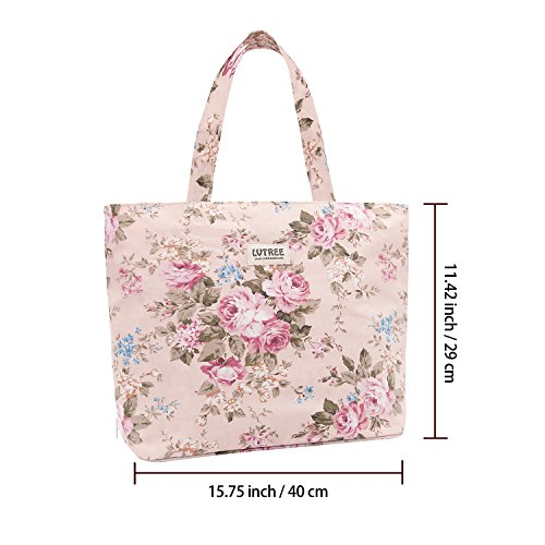 Lvtree Tote Shoulder Bag Handbag, Foldable Wallets Purse Bag for Outdoors Gym Hiking Picnic Travel Beach, Pink Rose by Lvtree (Image #2)