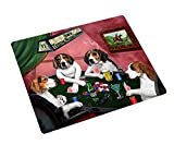 Home of Treeing Walker Coonhounds 4 Dogs Playing Poker Art Portrait Print Woven Throw Sherpa Plush Fleece Blanket (50x60 Plush)