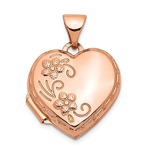 14k Rose Gold 15mm Reversible Heart Photo Pendant Charm Locket Chain Necklace That Holds Pictures Fine Jewelry Gifts For Women For Her (Gold Brooch Locket)
