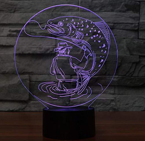 7 farben visuelle 3d mann fangen Größe fische tischlampe Atmosphäre led decor angeln nachtlichter kinder touch schalter leuchte geschenke
